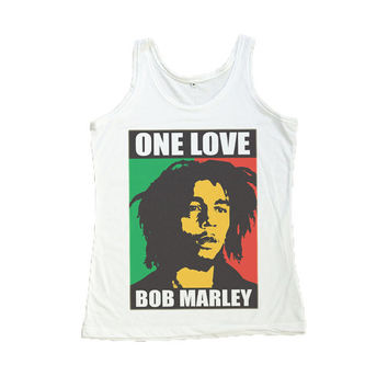 Bob Marley One Love Shirt SKA Reggae Tank Top T-Shirt Women Shirts Size S M L