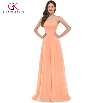 Elegant Long Evening Dresses Grace Karin Women Strapless Party Dresses 2017 New Arrival Chiffon Orange Formal Evening Gowns