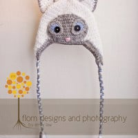 Crochet Pattern for Siamese Cat Hat - Earflap style with braids or Beanie - Welcome to sell finished items