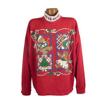 Ugly Christmas Sweater Vintage Sweatshirt Scene Dogs Party Xmas Tacky Holiday @4W Plus Size
