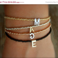 SALE PERSONALISED Tiny Delicate Black & Single Gold Letter Friendship Bracelet (Can be made in any colour)