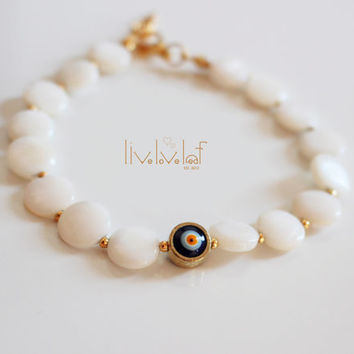 Evil eye pearl bracelet, Mother of pearl flat coin pearls & navy blue eye bracelets stackable unique trendy jewelry gift idea for Christmas