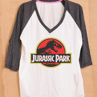 Jurassic Park Logo Film Cover Pop Punk Vintage Men Women Unisex Fashion T shirt V Neck Size S M L