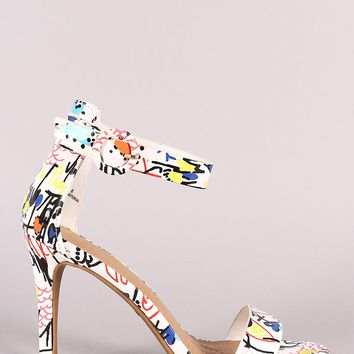 Printed Ankle Strap Single Sole Heel
