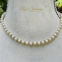 Vintage Napier Faux Pearl Bead Choker / Necklace, White & Gold Bead Bridal Necklace