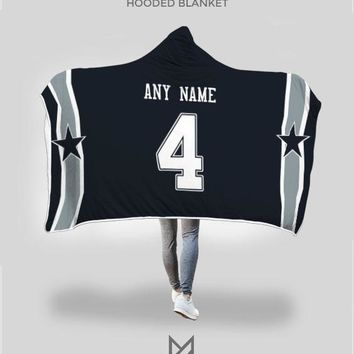 Dallas Cowboys Hooded Blanket - Personalized Any Name & Any Number