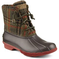 Women's Saltwater Duck Boot in Brown Plaid by Sperry