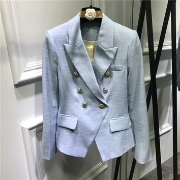 New 2017 spring summer fashion women double breasted gold color buttons blazer jacquard slim blazers outerwear blue