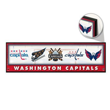 "WASHINGTON CAPITALS THROUGHOUT THE YEARS LOGO VINTAGE WOOD SIGN 9""x30"" WINCRAFT"