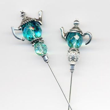 Sweet Mint Silver or Gold Teapot 6 inch Hatpins