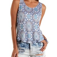 Printed High-Low Pocket Tank Top by Charlotte Russe