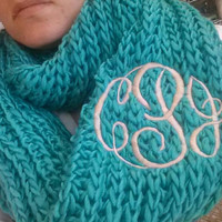 Chunky Teal Infinity Scarf  Monogram Font Shown MASTER CIRCLE