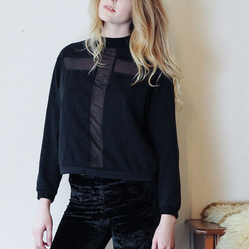 Holy Roller - Black sweatshirt with sheer cross insert
