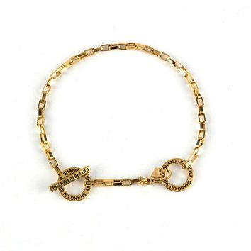ONETOW Solid Color Simple Unisex Lock Chain Couple Anklet Chain Bracelet Fashion Accessories