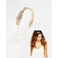 Greek Baroque Silver or Gold Leaf Headband