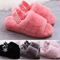 UGG Hight Quality Women Fashion Fur Flats Sandals Slipper Shoes