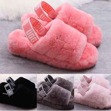 UGG Hight Quality Women Fashion Fur Flats Sandals Slipper Shoes cf07b05039