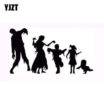 YJZT 16x8.7CM Personalized ZOMBIE Family Funny Car Window Decal Car Sticker Black/Silver Vinyl S8-1219