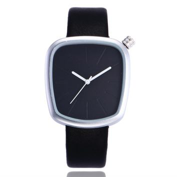 2017 New Black Pebble leather Lady Creative watch minimalist quartz fashion watch man and neutral