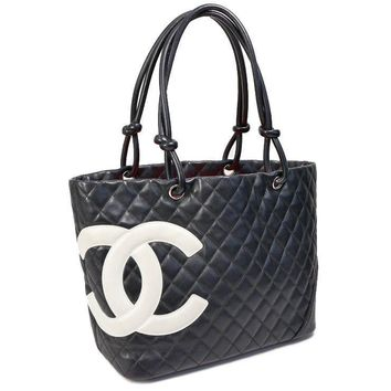 Auth CHANEL Cambon Tote Bag Black Leather