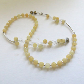 Yellow Jasper bubble silver necklace - wire wrapped with yellow gold Jasper and citrine stones- OOAK golden yellow chain-Bubble Bib beadwork