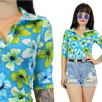 vintage 90s blue floral shirt 1990s does 70s cute KAWAII 3/4 sleeve top blouse hippie raver lime green classic 90s XS Small