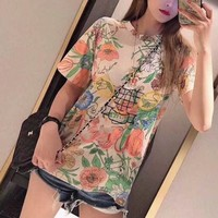 """Gucci"" Women Retro Flowers Print Badminton Racket Embroidery Short Sleeve T-shirt Top Tee"