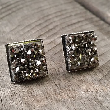 Druzy earrings-  Gunmetal chunky square drusy silver tone stud druzy earrings