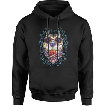 (Color) Pitbull Sugar Skull Day Of The Dead Adult Hoodie Sweatshirt