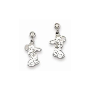 Sterling Silver or Yellow Gold Plated Disney Mickey Dangle Post Earrings