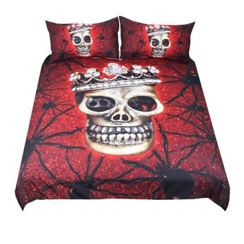 Red Spider Skull Bedding Set (Super Soft Duvet Cover with Pillowcases)
