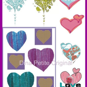 Printable Hearts / Instant Download / Art Projects / Heart Clip Art / Decoupage Art / Scrap Book Art / Digital Graphic Art / Card Making
