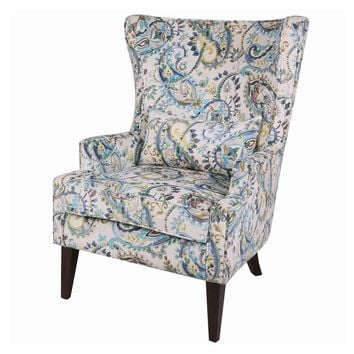 Clementine Wingback Arm Chair Wenge Legs, Mazarine Paisley