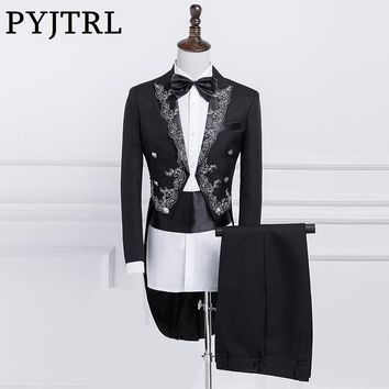 PYJTRL New Mens Black White Stage Singer Swallowtail With Silver Gold Embroidery Dinner Party Magician Master Tail Coat Tuxedo