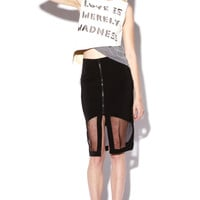 Sporty Black Mesh Panel Pencil Skirt | Thrifted & Modern