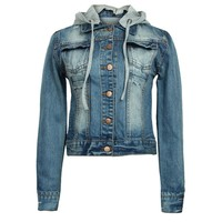 ZLYC Slim Denim Jacket with Contrast Jersey Hood for Girls