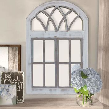 Arched Wooden Framed Window Wall Panel with Inserted Mirror, Distressed White and Clear By The Urban Port