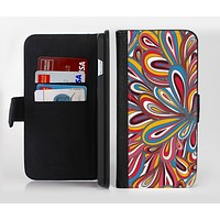 The Color Floral Sprout Ink-Fuzed Leather Folding Wallet Credit-Card Case for the Apple iPhone 6/6s, 6/6s Plus, 5/5s and 5c