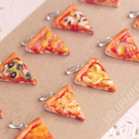 pizza CHARM / PENDANT - pepperoni, hawaiian, vegetarian - choose your flavor - miniature food jewelry
