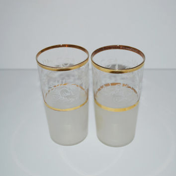 Vintage Christmas Tumblers Christmas Glasses Set of 2 Frosted Glasses Gold and White Christmas Drinking Glasses