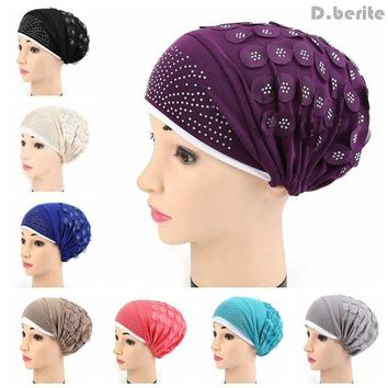 DCCKU62 Muslim Fashion Women Stretch Turban Hat Chemo Cap Hair Loss Head Scarf Wrap Hijib Cap Chemotherapy Hat QDD9052