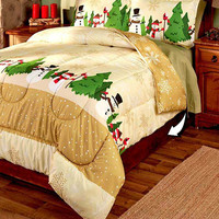 Snowman Snowflake Comforter Set 3 Pce Reversible Christmas Winter Holiday Decor