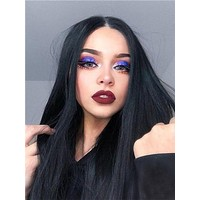 Long Natural Black Straight Synthetic Lace Front Wig