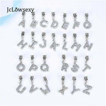 S-Z Alloy Bead European Letter Of The Alphabet Silver Plated Bead Fit Pandora Women DI