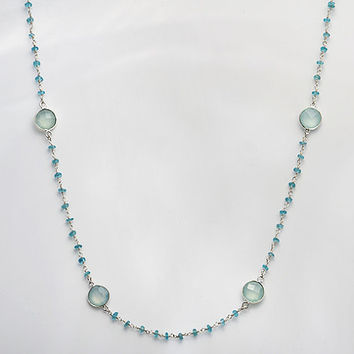 Long Aqua Seafoam Chalcedony bezel station Sterling Silver apatite wire wrapped necklace - available in vermeil gold