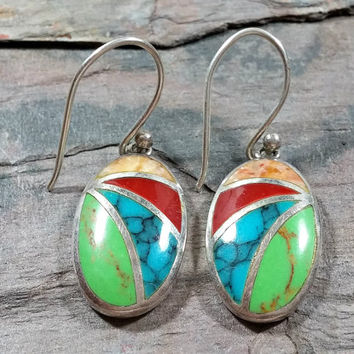 Sterling Silver Southwest Style Multi Stone Earrings Colorful Blue Turquoise Green Gaspeite Red Coral Spiny Oyster Dangle Style Earrings