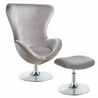 Grey velvet upholstered accent chair with high back and curved arms with chrome base