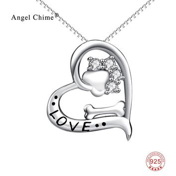 Love Heart Dog Paw Print Bone Pendant 925 Sterling Silver Statement Necklaces Lovely Animal Jewelry Kolye For Women