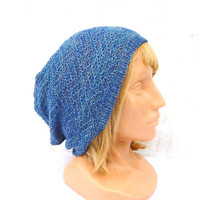 Knit blue cotton hat, knitted lace cotton beanie, knitting adult summer cap, blue cloche , colorful slouche, handmade accessories, tam, hat