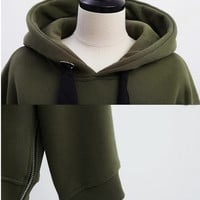 Casual Side Zipper Long Sleeve Hooded Jacket